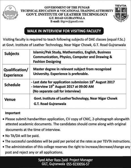 Tevta Punjab Jobs 2017 For Teaching Faculty Walk In Interviews On 10 August 2017 Paperpk Jobs