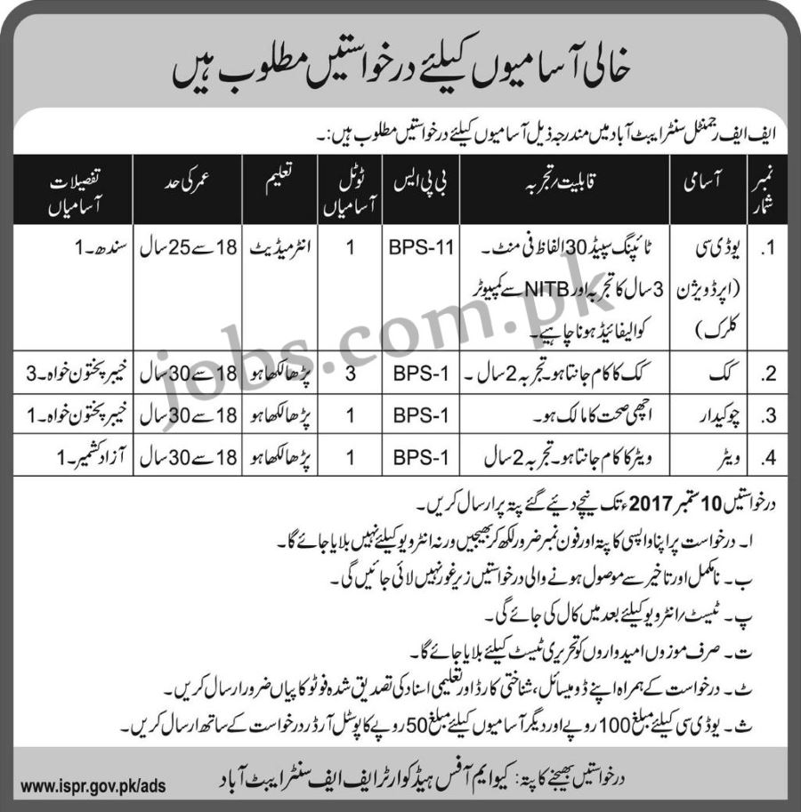 Pak army jobs 2017 for 6 udc clerk and support staff at ff pak army ff regimental center abbottabad jobs 2017 apply online falaconquin