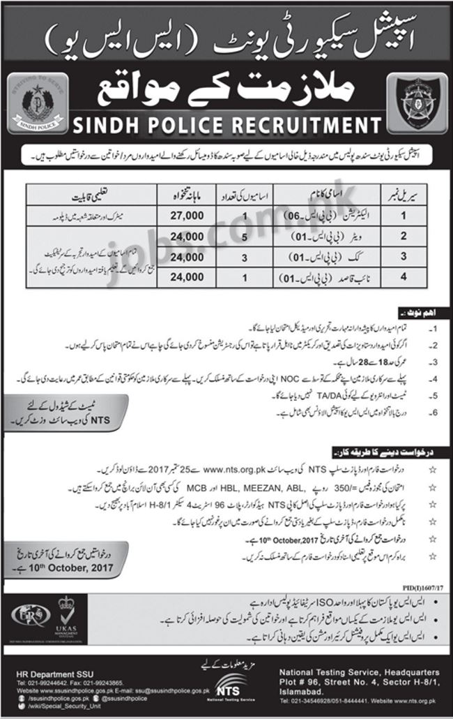 sindh police jobs 2017 for 1280  police commandos and