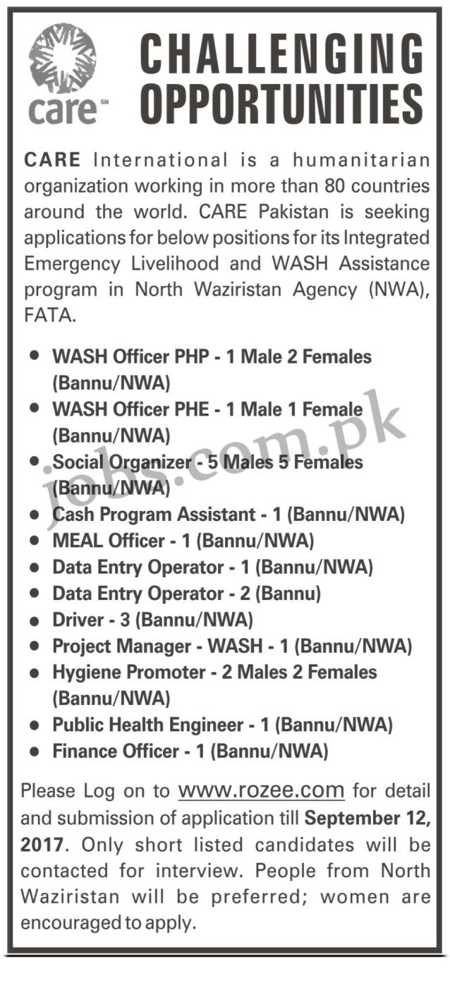 care pakistan ngo jobs 2017 for 30  vacancies in multiple categories on 1 september  2017