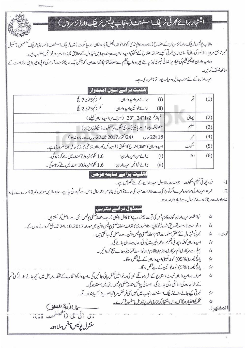 Punjab Police Traffic Warden Service Jobs 2017 for 1225+ Traffic ...