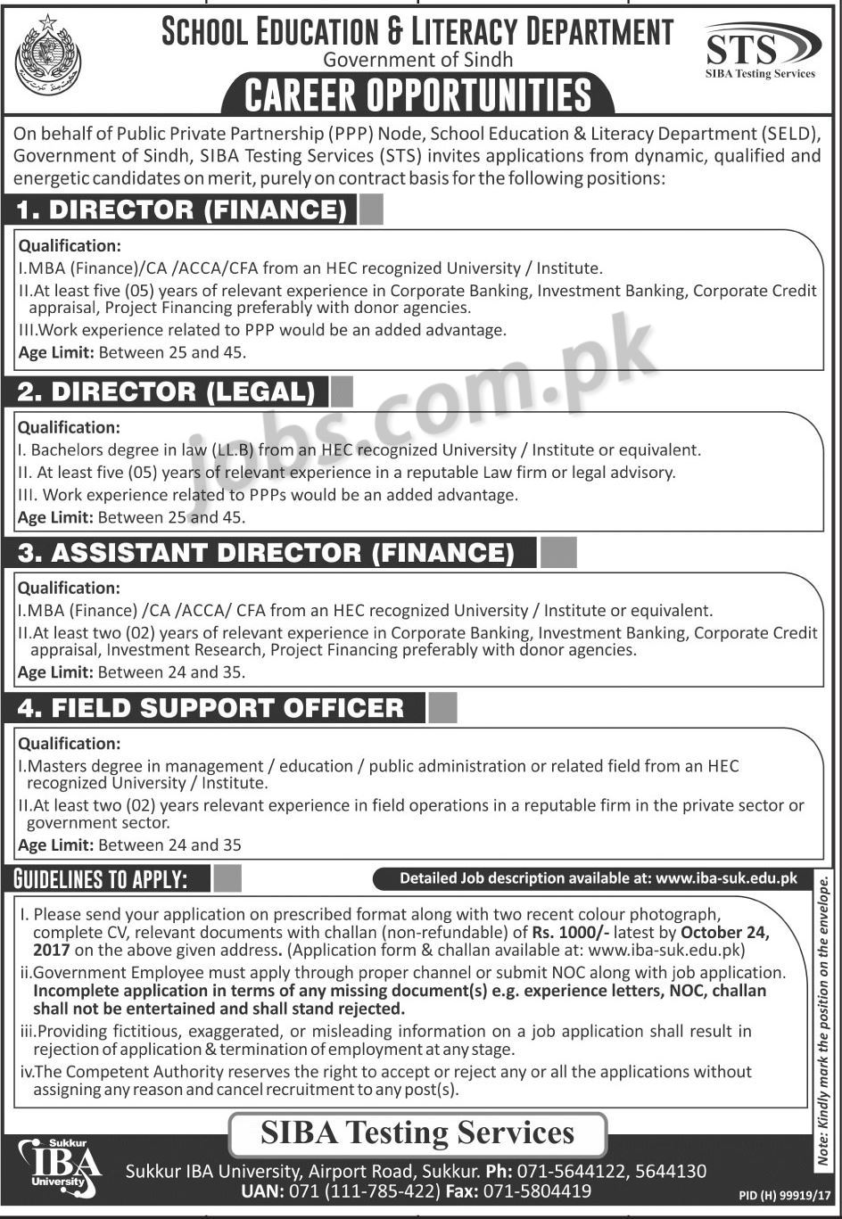 School Education Amp Literacy Department Sindh Jobs 2017 For
