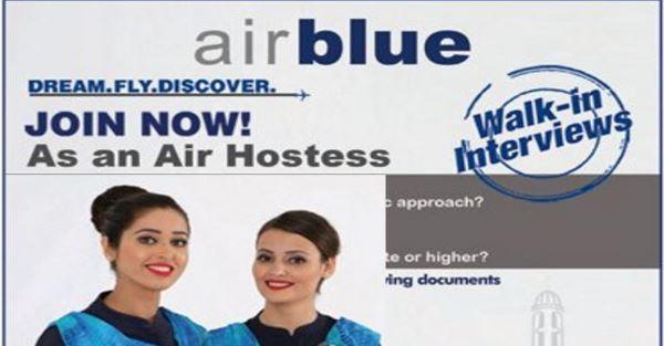 Airblue Jobs 2017 For Air Hostess Vacancies Walk In
