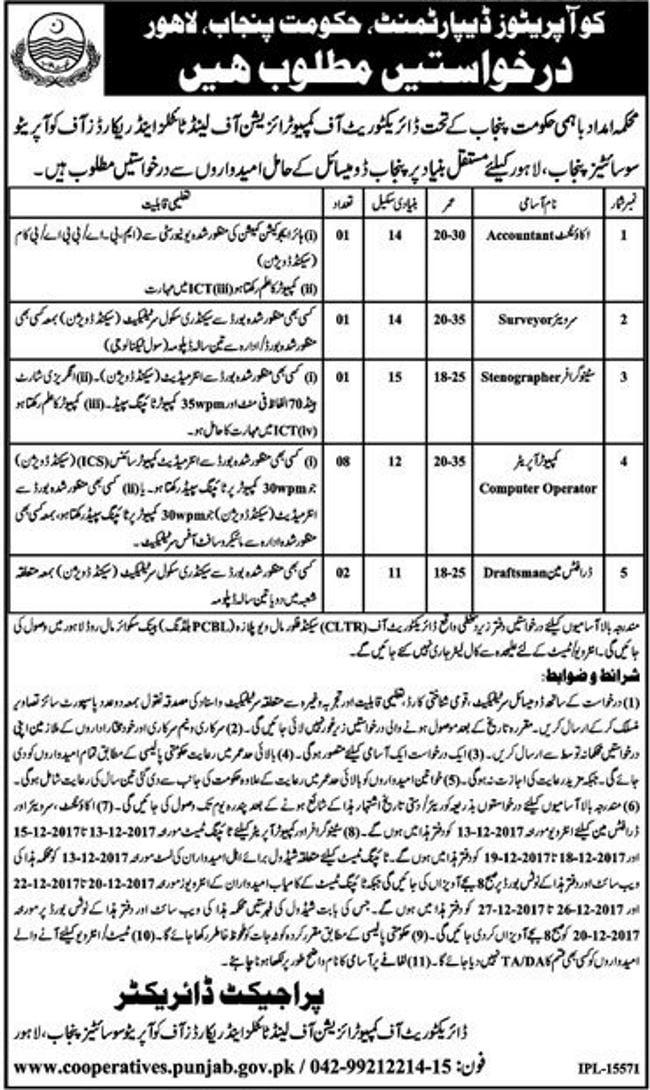 Cooperatives Department Punjab Jobs 2018 For 13 Computer