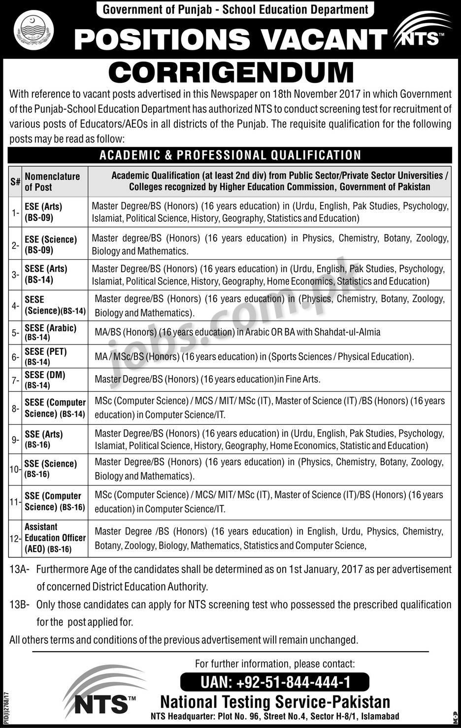Nts Entry Test For Educators Amp Assistant Education