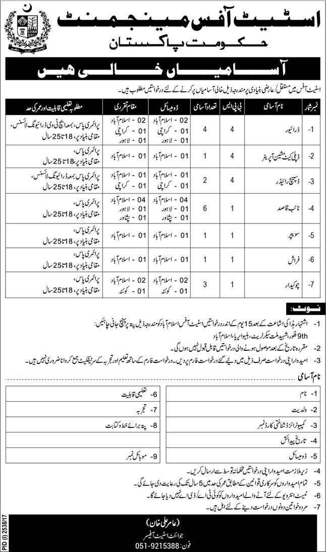 Estate Office Management Pakistan Govt Jobs 2017 For 18 Support