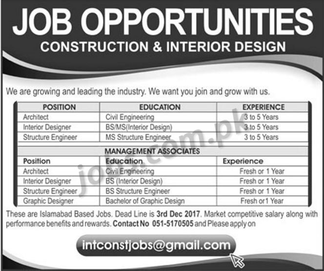 Construction interior design company jobs 2018 for for Design firm jobs