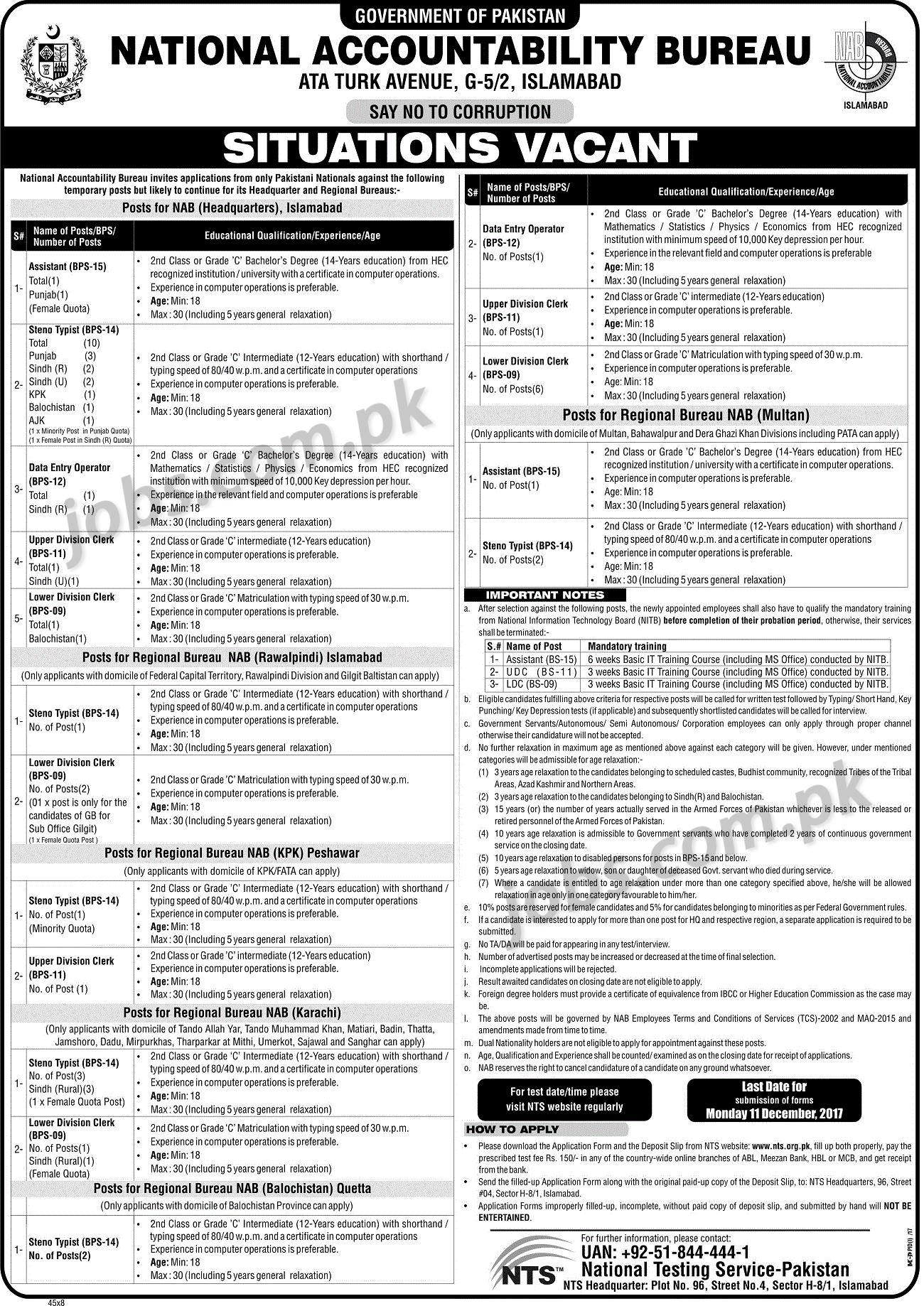 NTS-2018-recruitment Online Form Of Govt Job on for 12th pass, 10th pass raliway, district thatta, 12th pass uttrakhand, 10th 12th qualification, punjab pakistan,