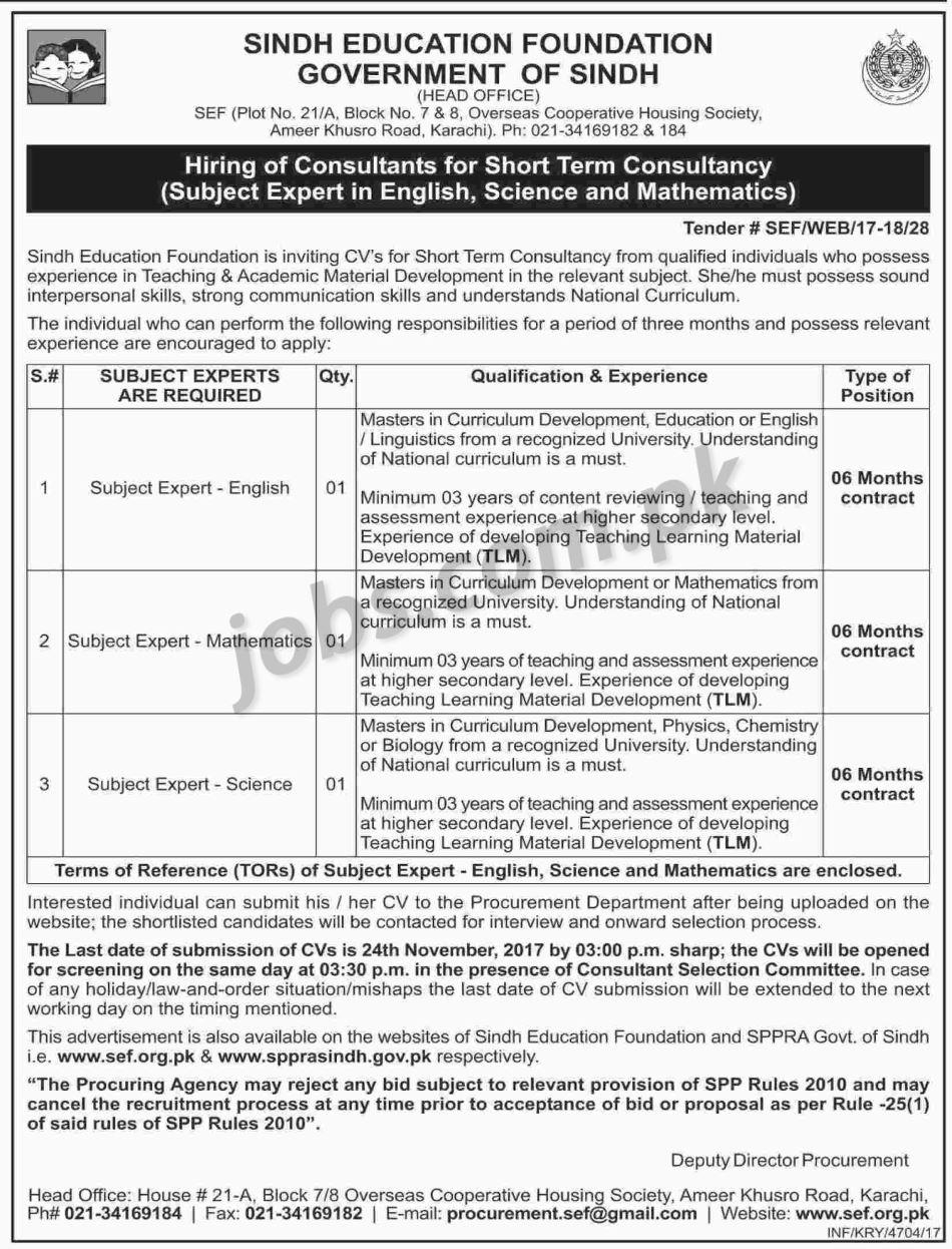 Sindh education foundation sef jobs 2017 for subject experts application form details registration falaconquin