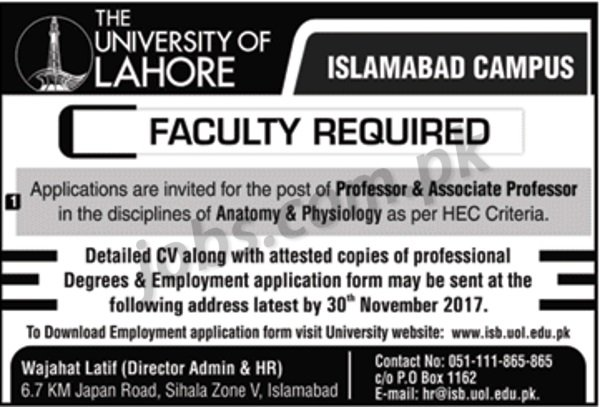 University of Lahore (Islamabad Campus) Jobs 2018 for Teaching ...