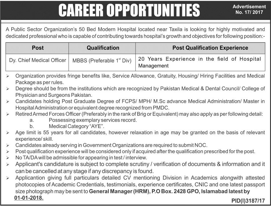 po box 2428 jobs 2018 for deputy chief medical officer