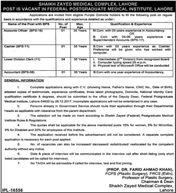 Shaikh Zayed Medical Complex Szmc Lahore Jobs 2018 Latest