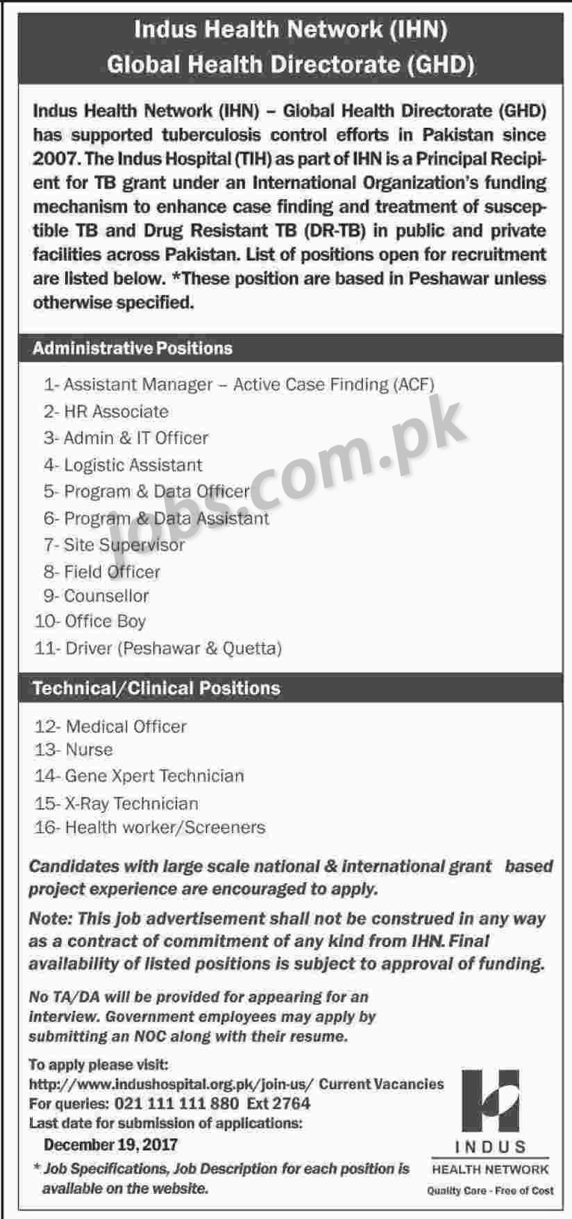 Indus Hospital Jobs 2018 for IT, HR, Admin, Medical, Lab and Other ...