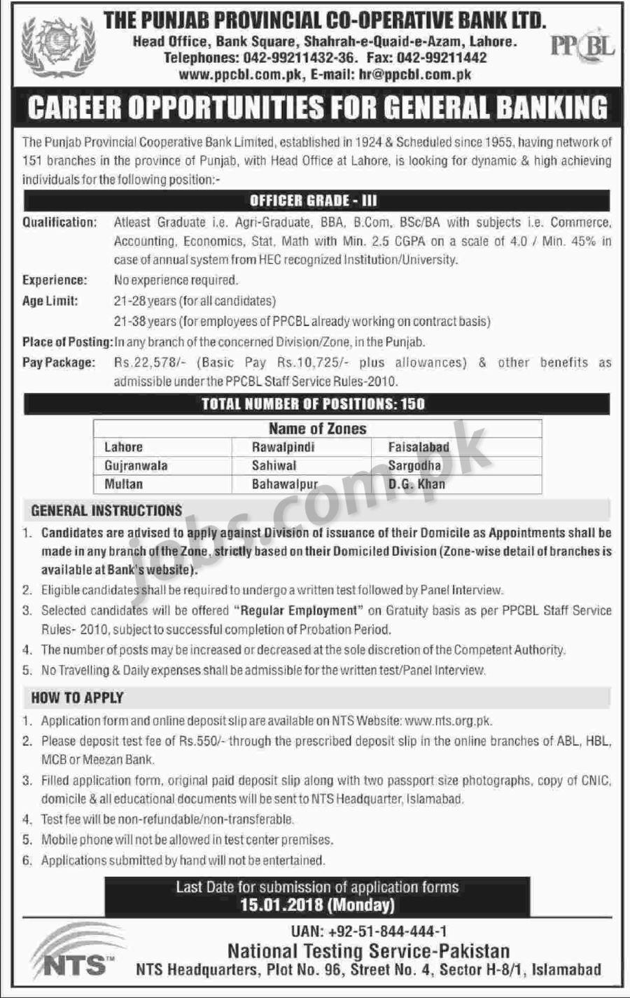 Punjab Provincial Co-Operative Bank Ltd (PPCBL) Jobs 2018 for 150+ ...