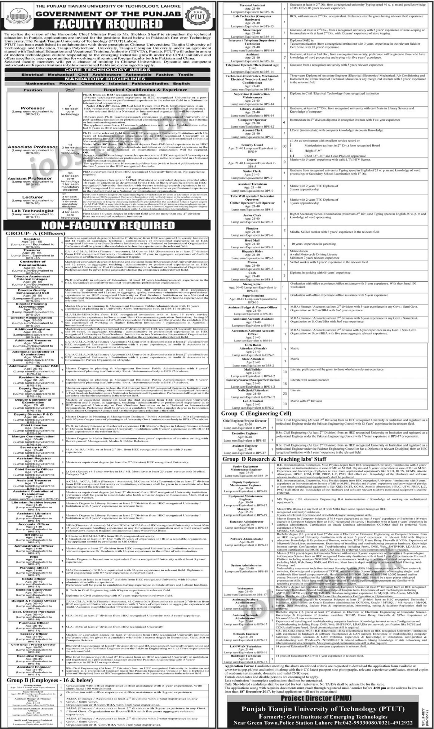 ptut-tw-nw-jn Online Application Form For Government Job on