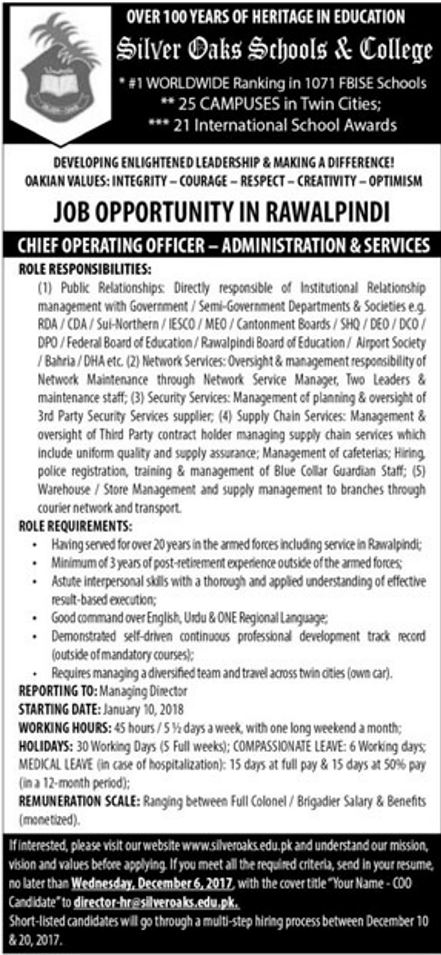 Silver oaks schools colleges jobs 2018 for chief operating officer on 3 december 2017 - Chief operating officer jobs ...