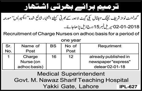 Govt M. Nawaz Sharif Teaching Hospital Lahore Jobs 2018 for 32+ ...