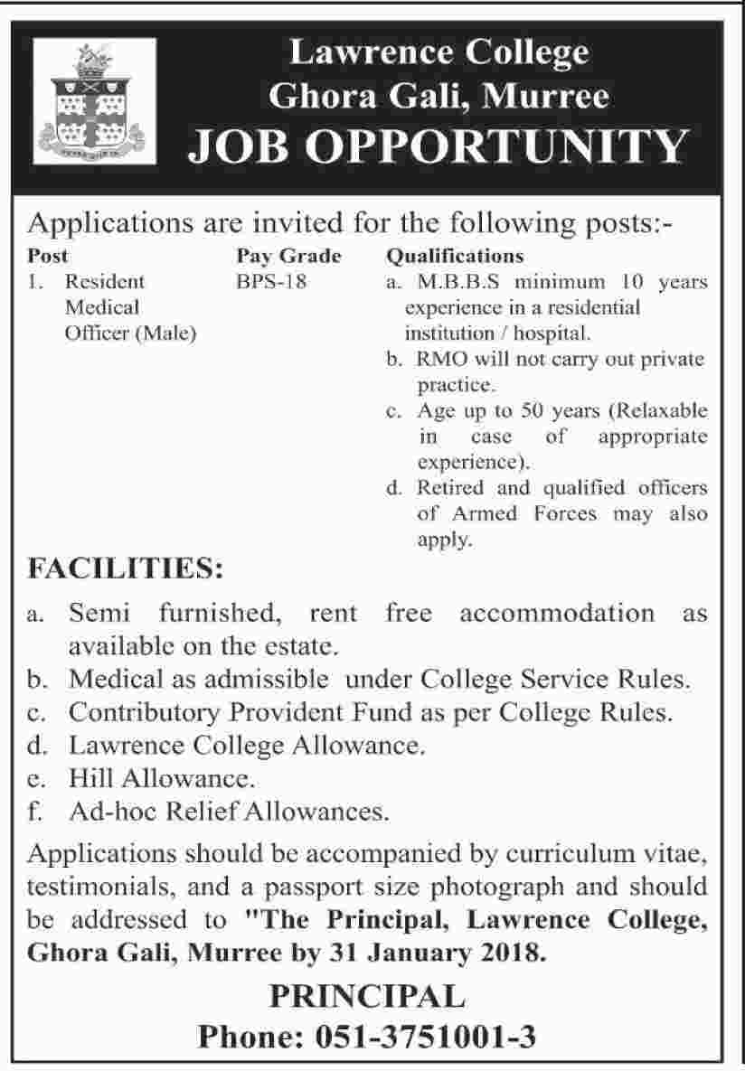 Lawrence College Murree Jobs 2018 For Medical Officer Posts