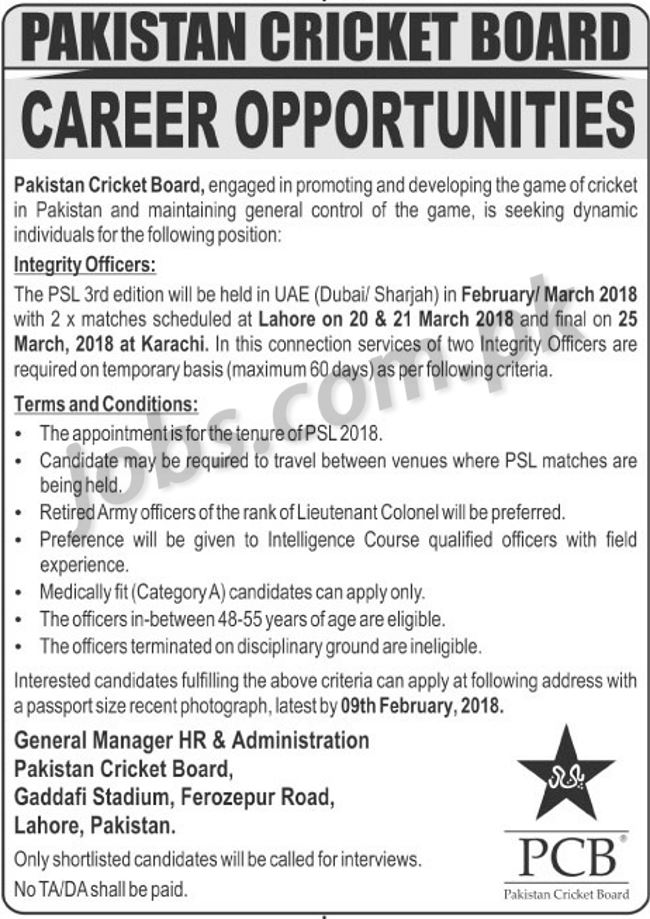 pakistan cricket board  pcb  jobs 2018 for integrity