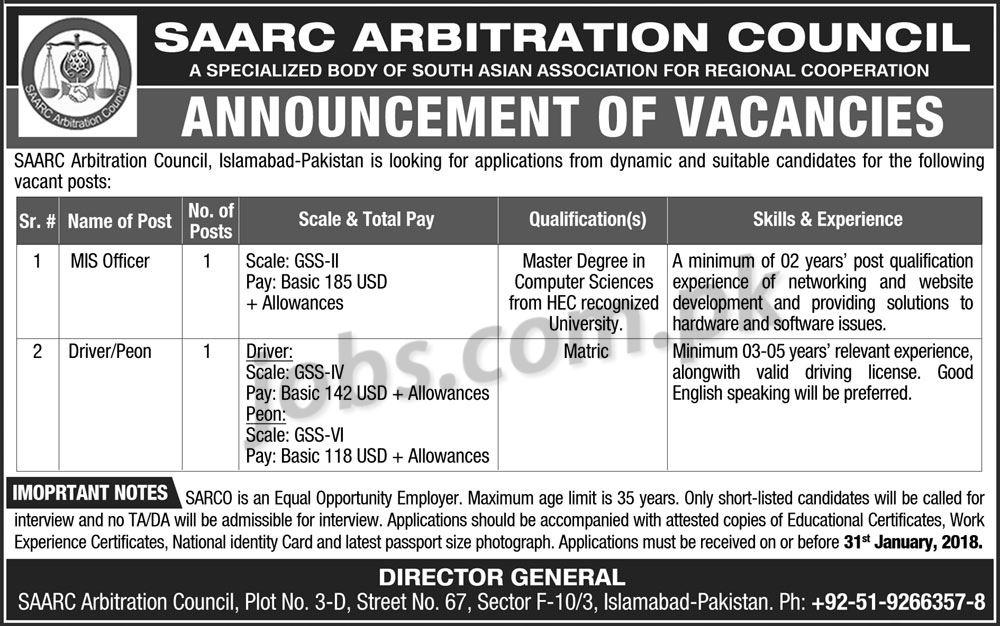 Saarc Jobs 2018 Latest Government Jobs Pakistan 8, Jan 2018