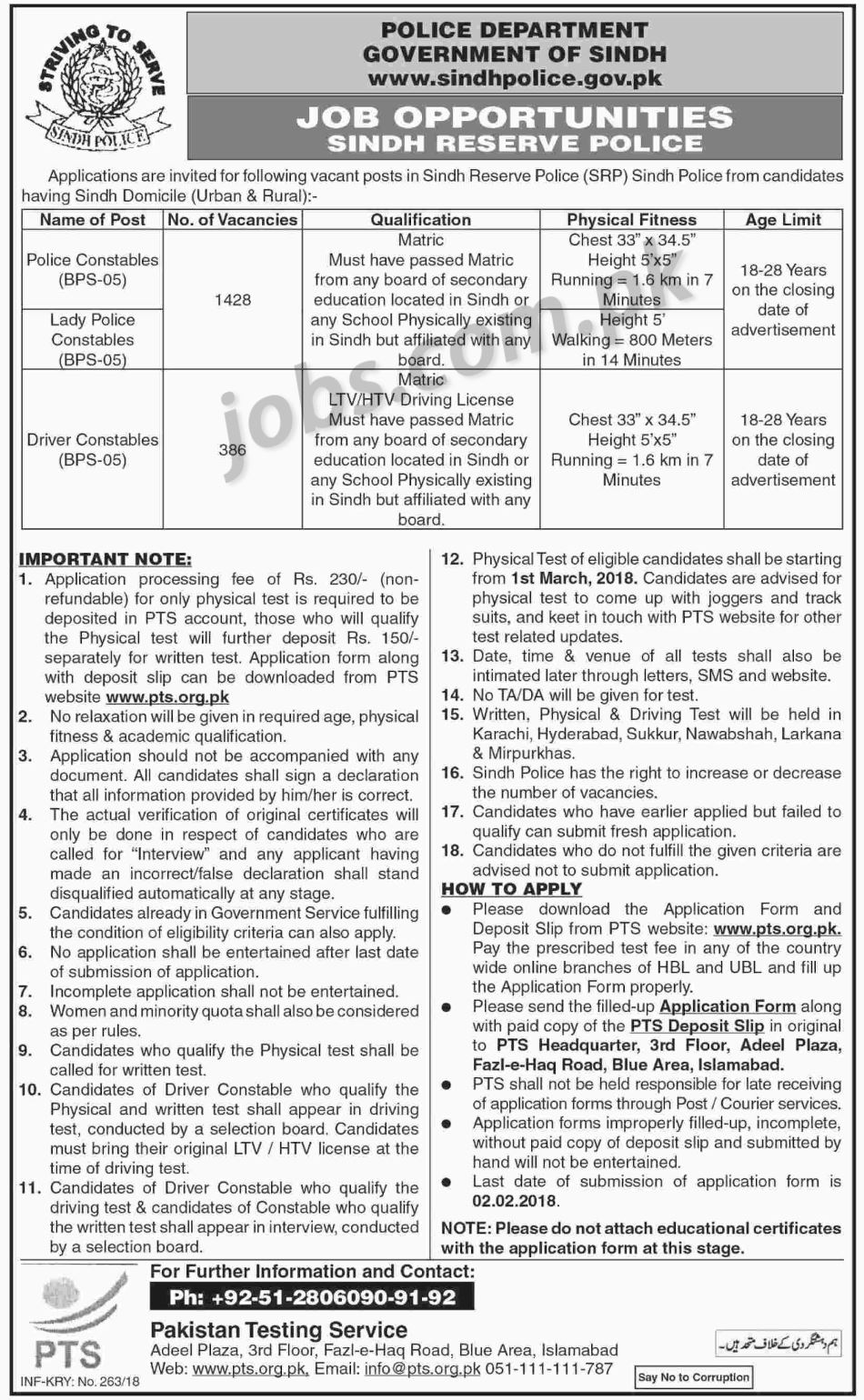 Sindh Police Jobs 2018 for 1814+ Police Constables, Lady Police ...