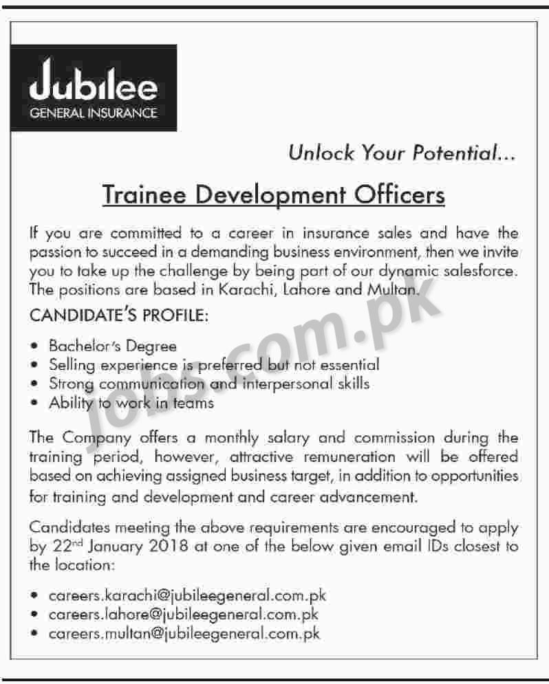 Jubilee General Insurance Jobs 2018 for Trainee Development Officers ...
