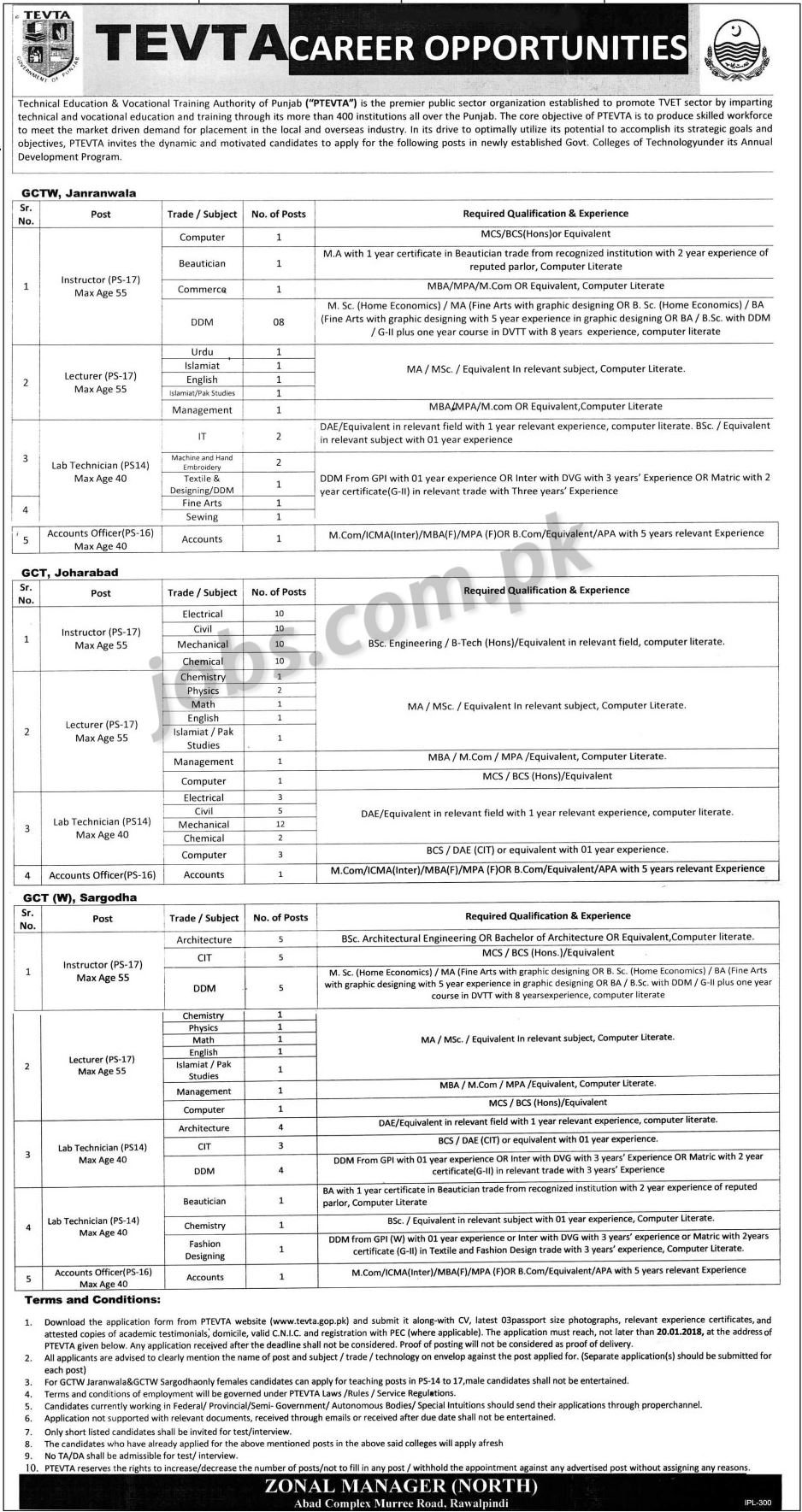 Tevta Punjab Jobs 2018 For 135 Accounts Officers Lab Teaching Faculty Multiple Cities On 9 January 2018 Paperpk Jobs