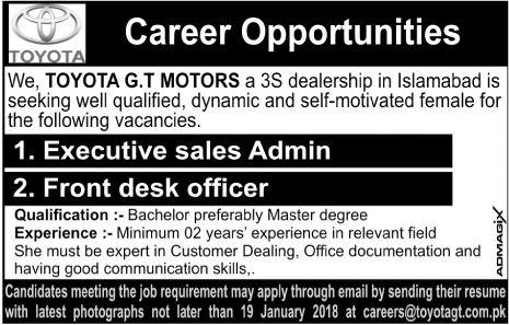 Toyota Motors 3s Dealership Islamabad Jobs 2018 For Sales