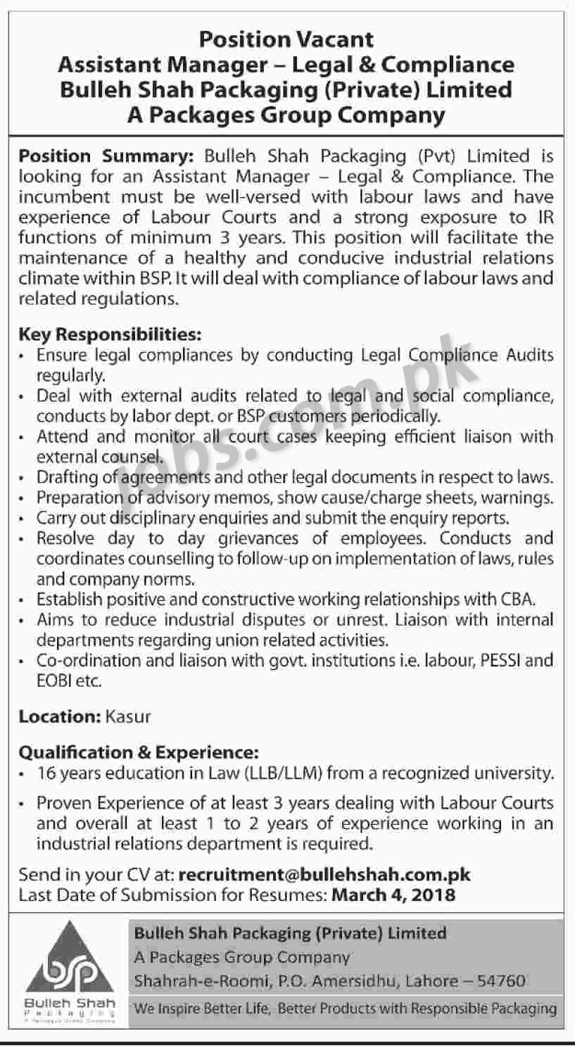 Bulleh shah packaging pvt ltd jobs 2018 for assistant manager legal compliance on 25 - Assistant compliance officer salary ...