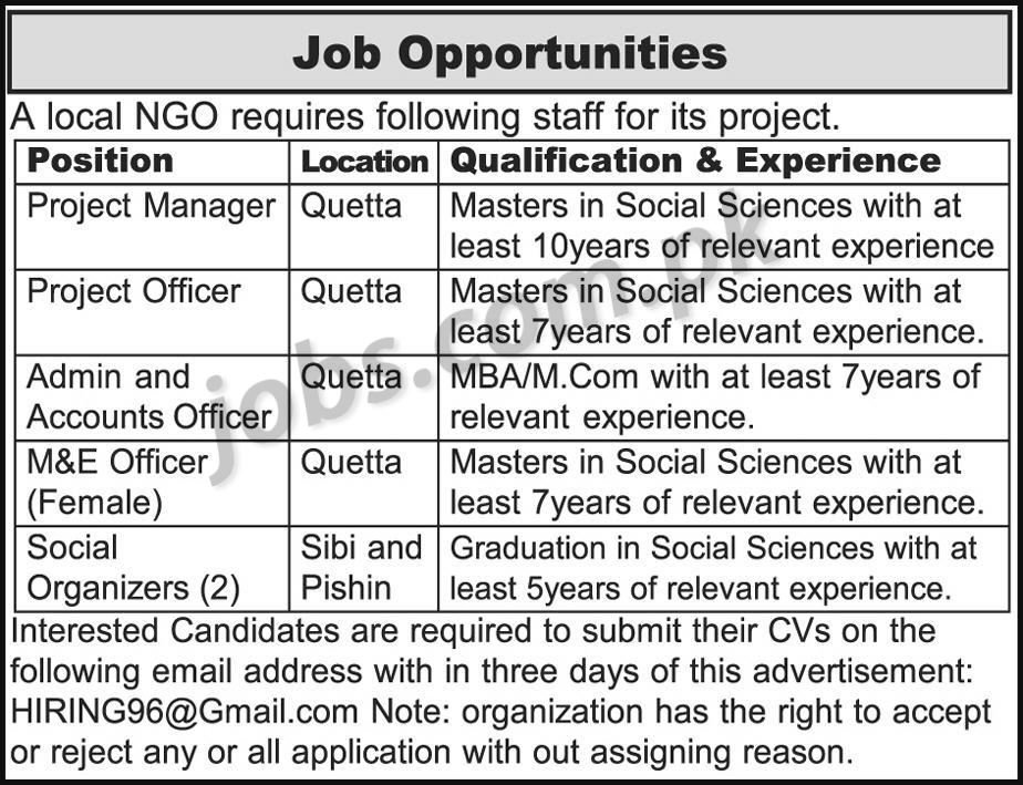 local ngo jobs 2018 for various admin  accounts  m u0026e
