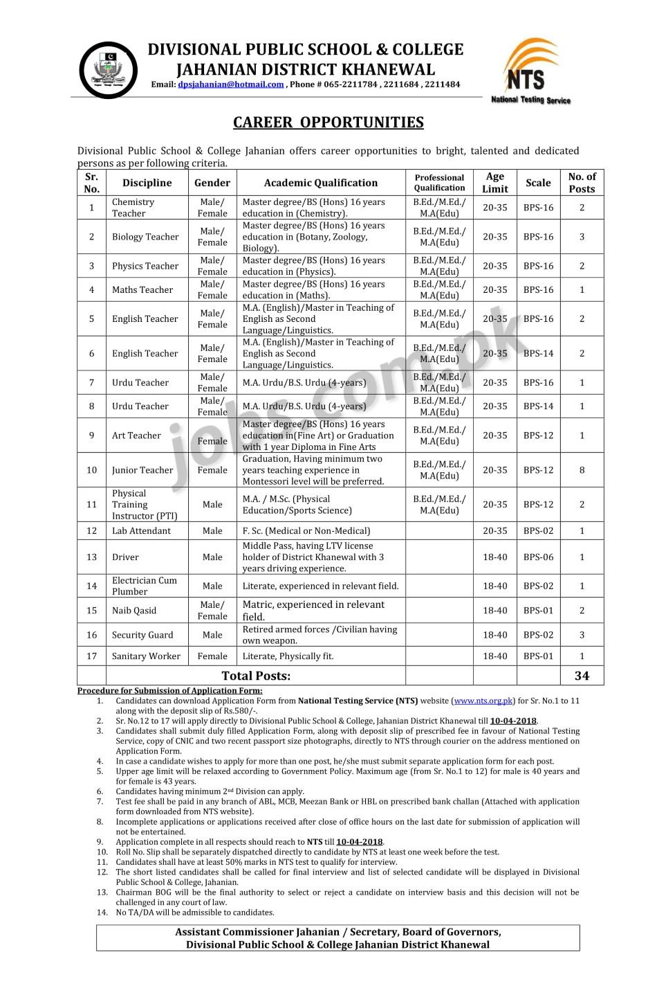 Divisional Public School & College Jahanian District Khanewal Jobs ...