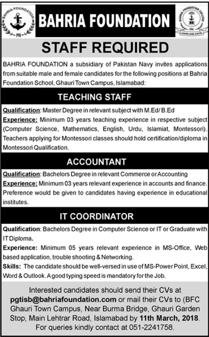 Bahria Foundation Islamabad Jobs 2018 IT, Accountant and