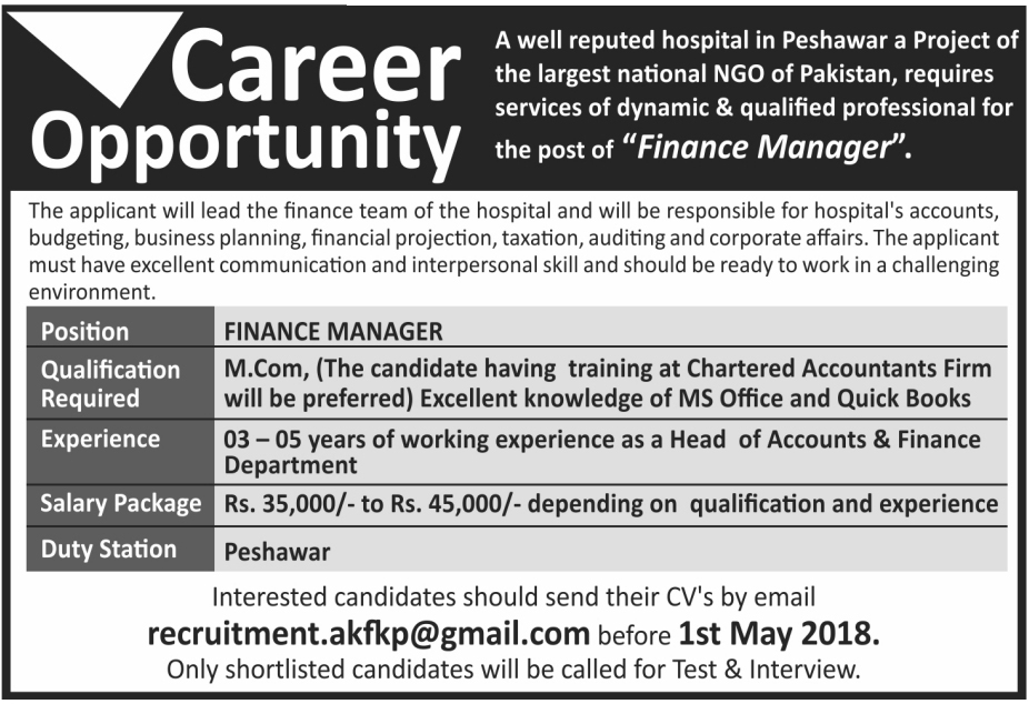 peshawar ngo hospital jobs 2018 for finance manager on 23 april 2018 paperpk jobs. Black Bedroom Furniture Sets. Home Design Ideas