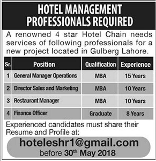 f45168176 Lahore Hotel Chain Jobs 2018 for Finance, Sales Manager, GM Operations and  Restaurant Manager