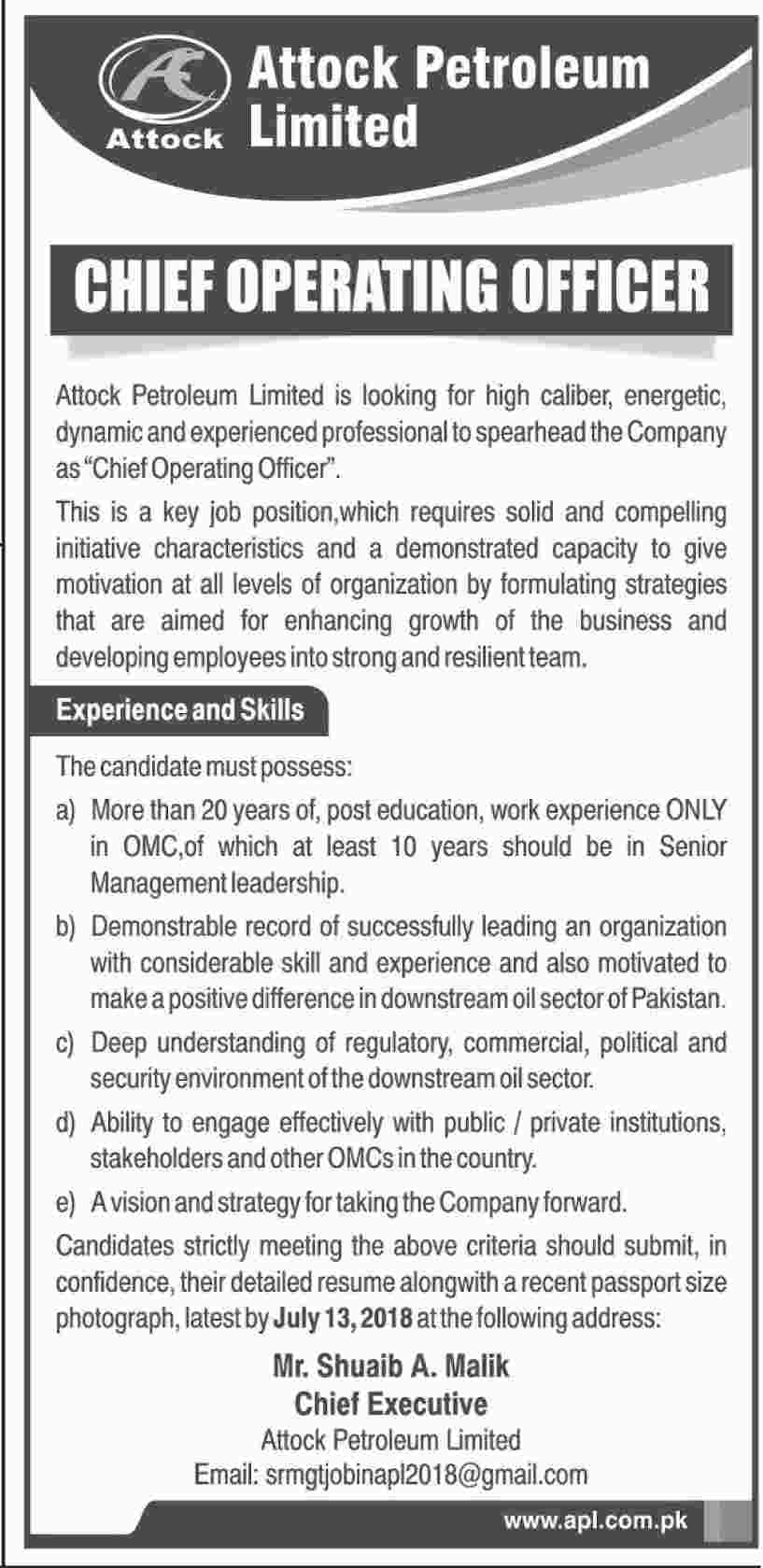 Attock petroleum ltd apl jobs 2018 for chief operating officer on 29 june 2018 paperpk jobs - Chief operating officer jobs ...