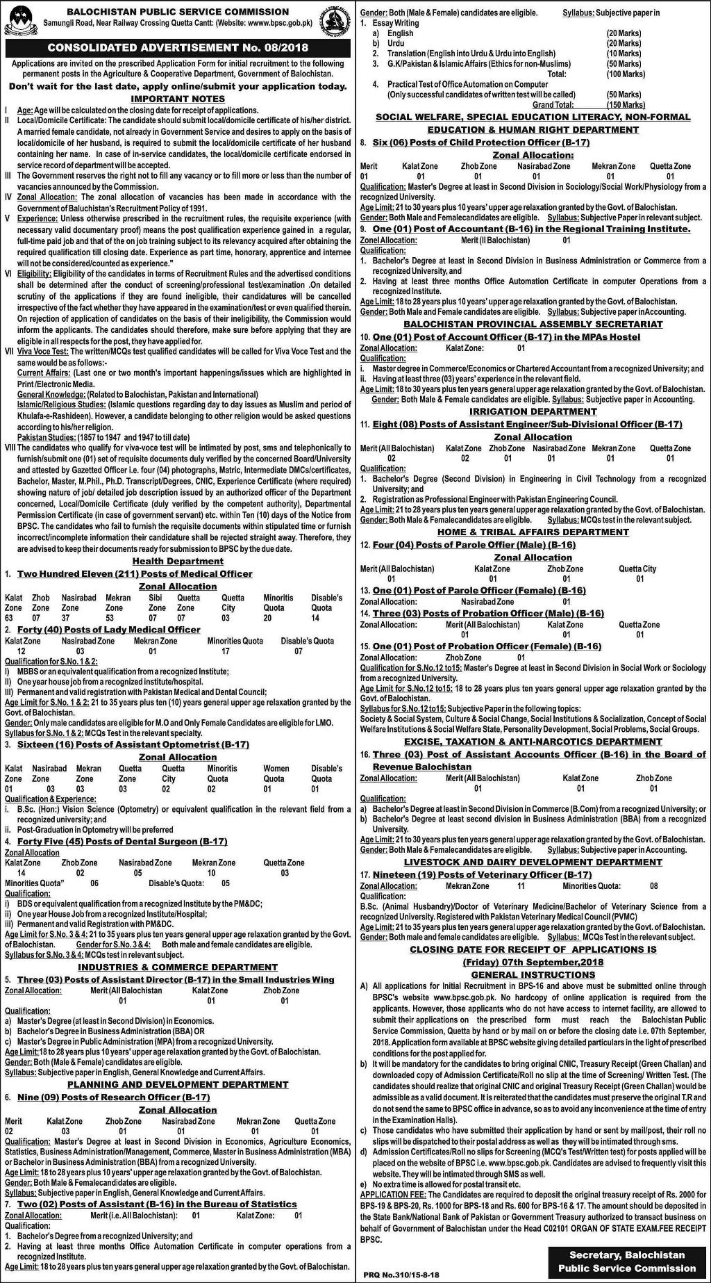 BPSC Jobs 2018 (8/2018): 373+ Posts in Multiple Departments