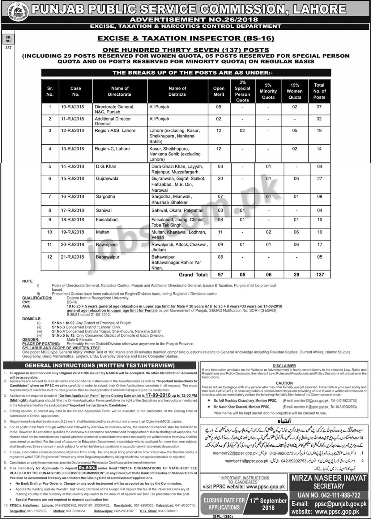 137+ Excise and Taxation Inspectors Jobs 2018 Announced through PPSC ...