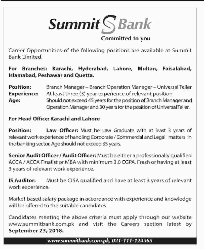 Summit Bank Jobs 2018 for 100+ Tellers, Branch Managers, Law, Audit ...