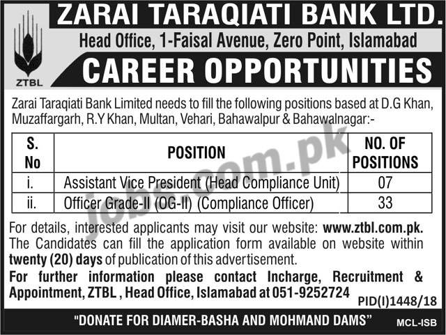 Ztbl bank jobs 2018 for 40 officer grade ii compliance officers and assistant vice president - Assistant compliance officer salary ...