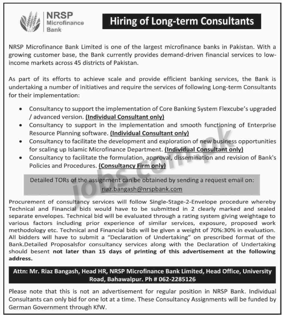 nrsp microfinance bank jobs 2018 for various consultant