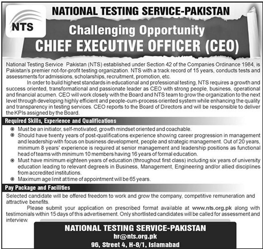 national testing service  nts  jobs 2019 for chief