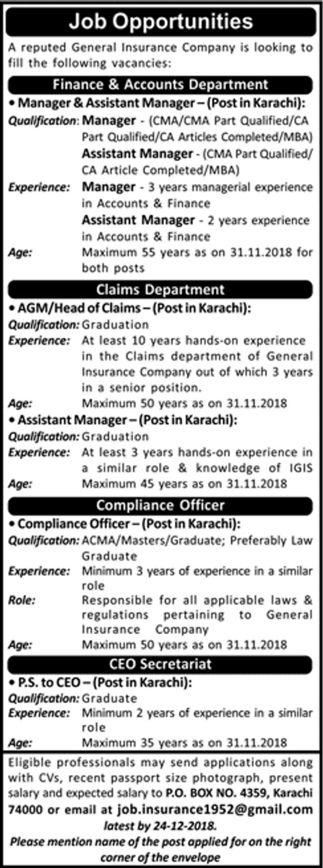 Po box 4359 insurance company jobs 2019 for ps compliance officer assistant manager - Assistant compliance officer ...