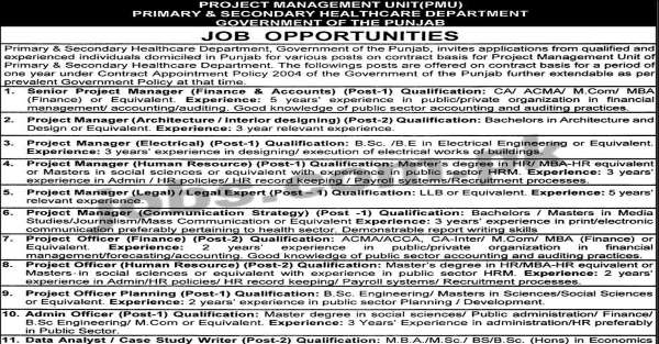 punjab ps healthcare department jobs 2019 for 15  it