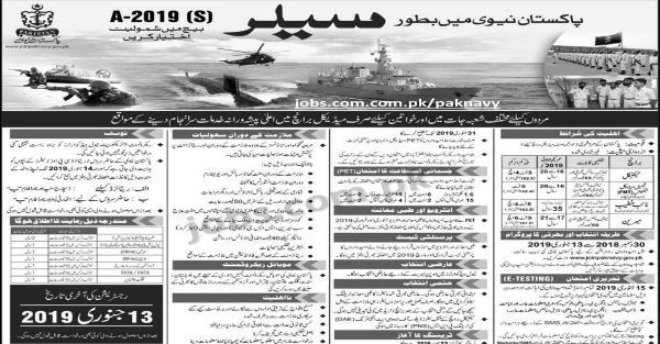 Join Pakistan Navy 2019 as Sailor A-2019 (S) Batch (Multiple