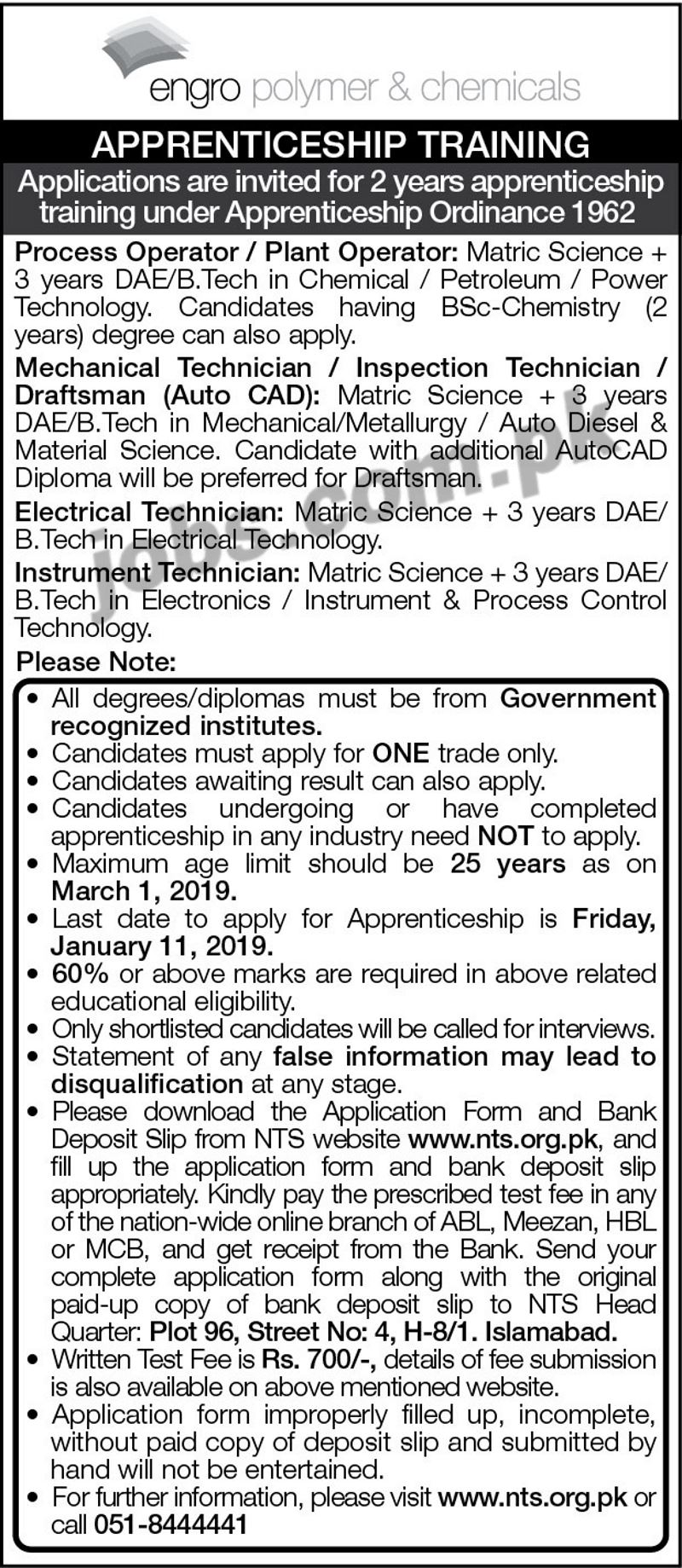 ENGRO Apprenticeship Training Program 2019 (Download NTS ...