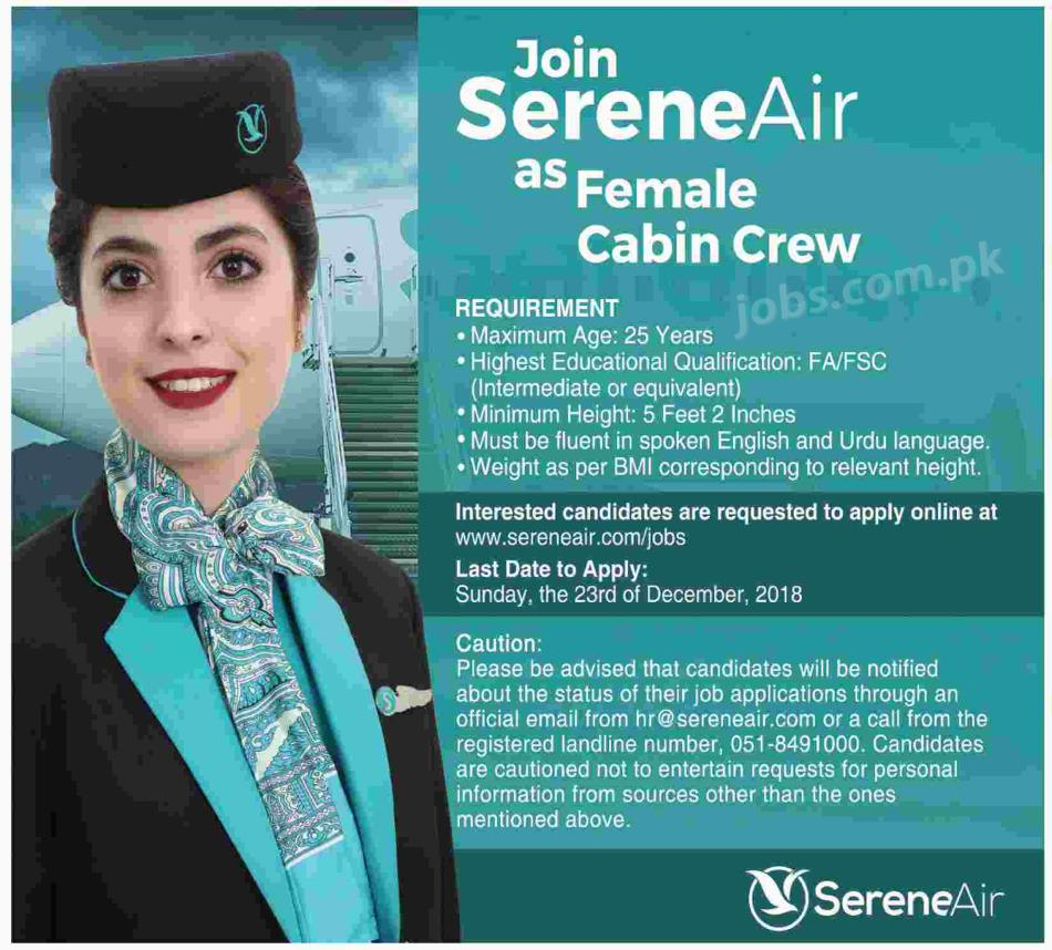 sereneair pakistan jobs 2019 for female cabin crew on 2