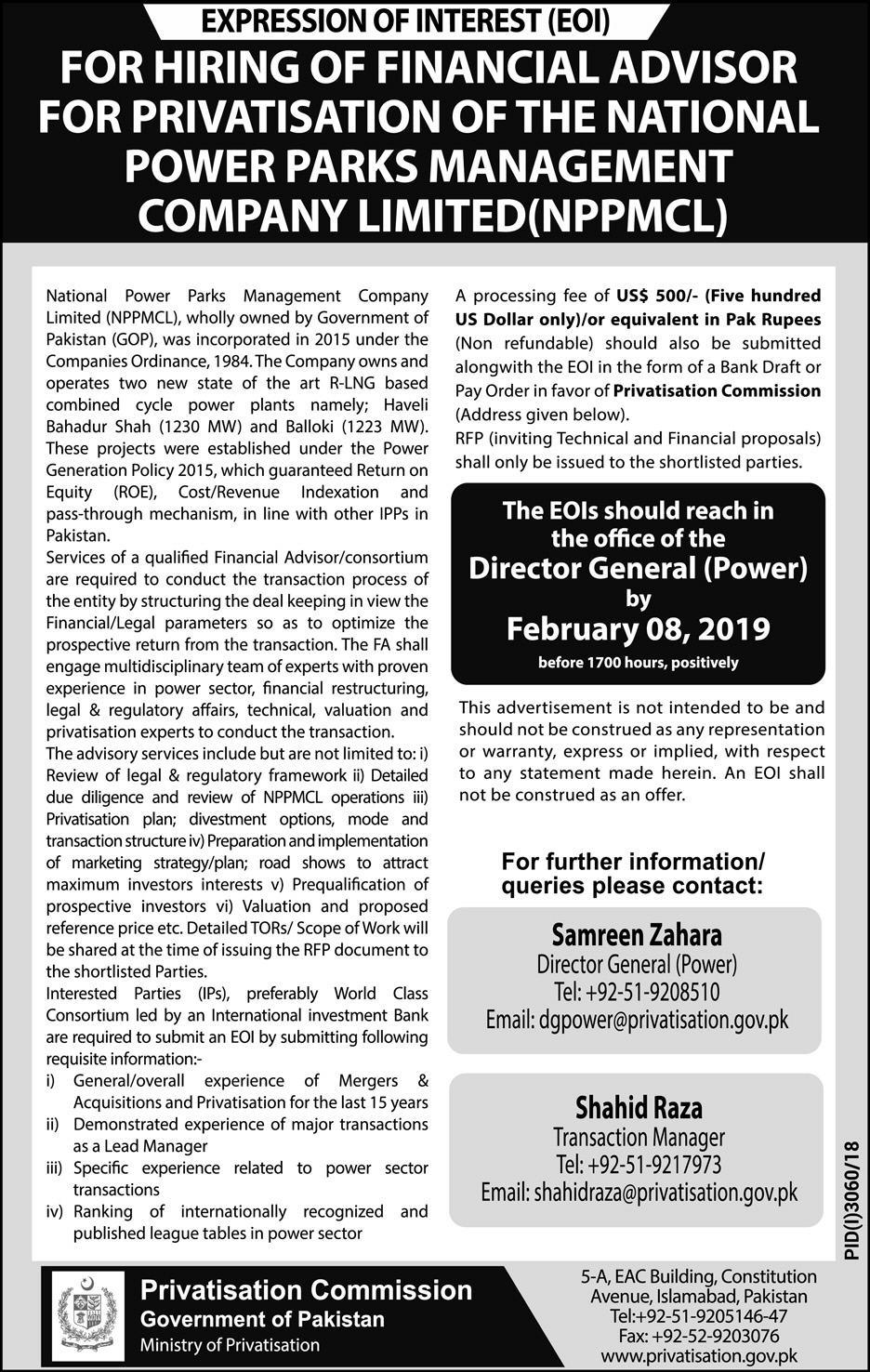 Privatization Commission Pakistan Jobs 2019 For Financial