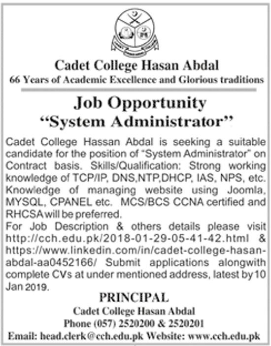 Cadet College Hasan Abdal Jobs 2019 For IT System Administrator