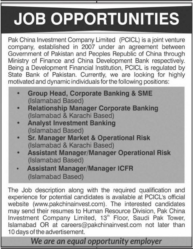 Pak-China Investment Company (PCICL) Jobs 2019 for Assistant