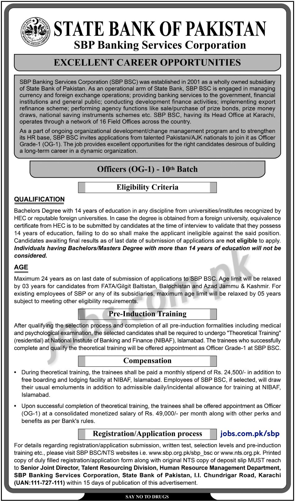 State Bank (SBP) Jobs 2019 for Officers (OG-I) - 10th ...